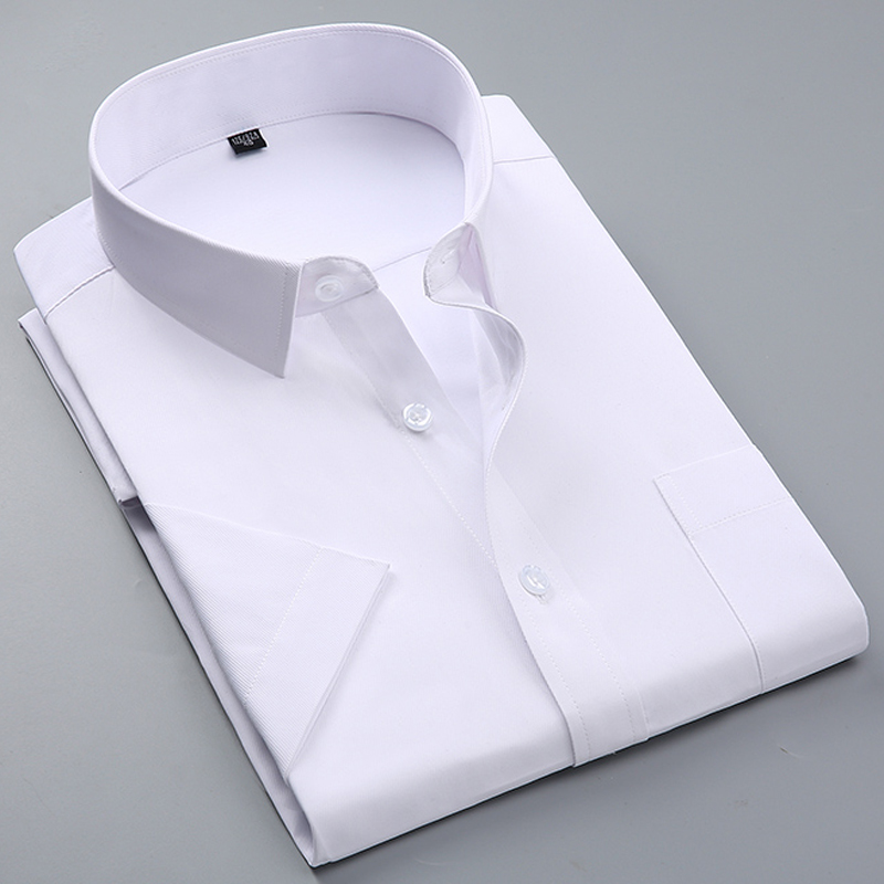Summer Men's Short-sleeve White Basic Dress Shirt with Single Chest Pocket Slim-fit Business Formal Solid/twill/plain Shirts