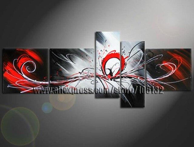 Aliexpress.com: Comprar Enmarcado 5 Panel Large Negro Blanco y Rojo ...