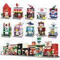 HSANHE Stadt Mini Straße Spielzeug Shop Einzelhandel Shop 3D Modell KFCE McDonald Cafe Apple Miniatur Baustein für kinder|Sperren|Spielzeug und Hobbys -