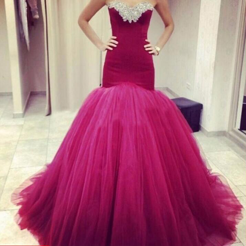2020 Sweetheart Burgundy Mermaid   Prom     Dress   Sexy Long Evening Gowns Sleeveless Off Shoulder Crystal Wine Red Formal Party   Dress