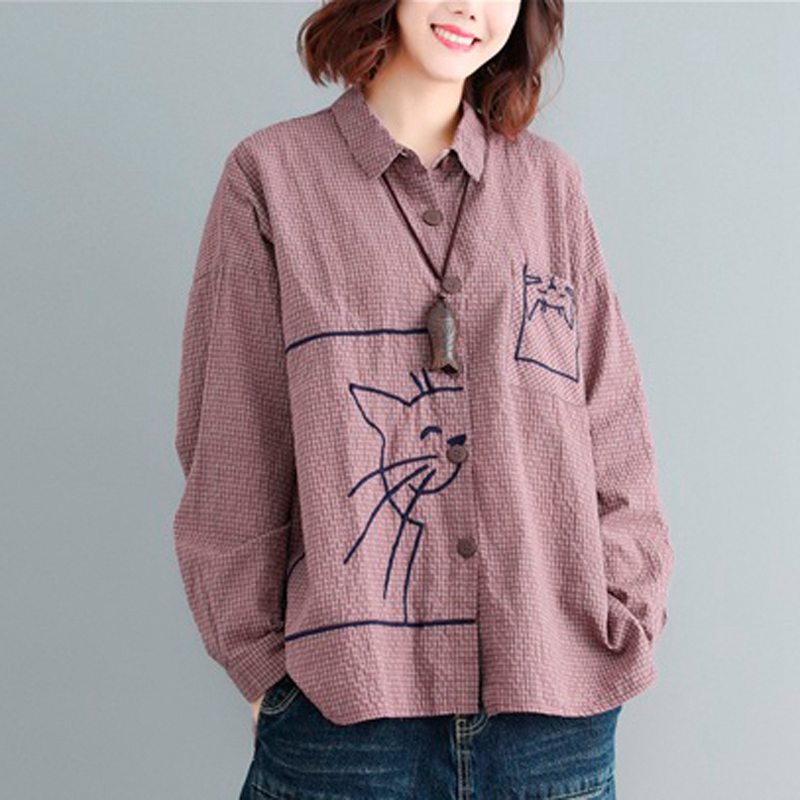 Women Cotton Linen   Blouse     Shirt   Plus Size Oversized Women Tops Cat Embroidery Loose Vintage Cardigan Oversized Female Clothes