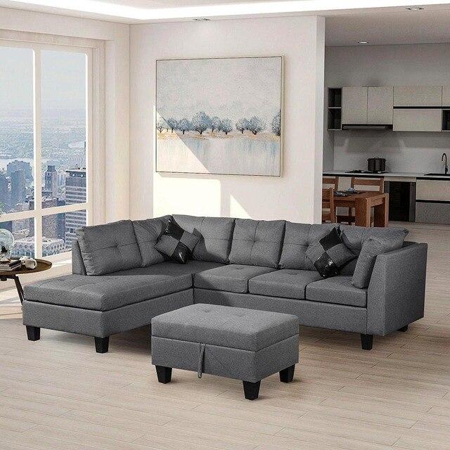 3 pièces salon canapé ensemble coin moderne meubles de maison L en forme  lin tissu canapés