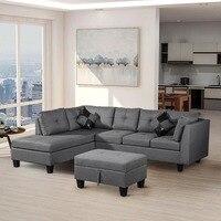 3pcs Living Room Sofa Set Corner Sofa Set Modern Home Furniture L Shaped Linen Fabric Living Room Corner Sofas Home Furniture