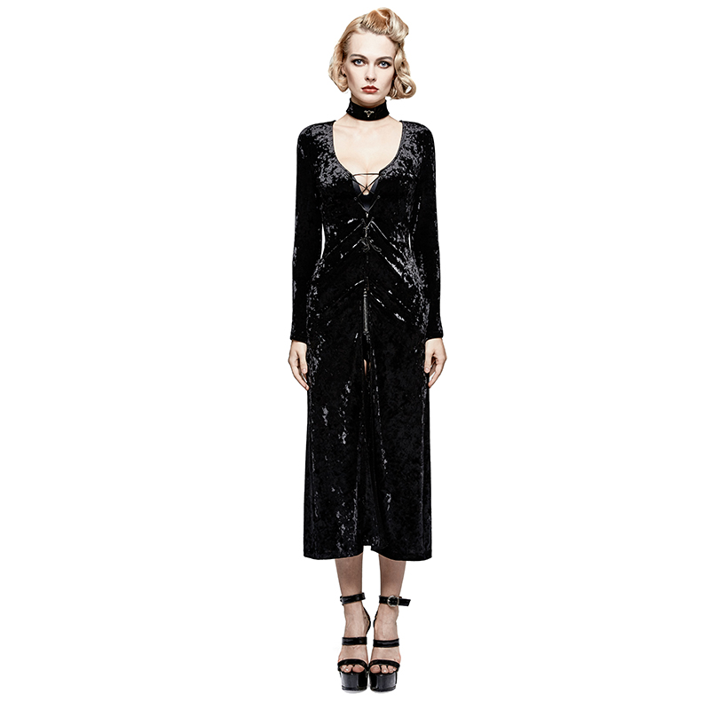Steampunk Retro Casual Women's Strap Dress Black Lace Back Velvet Evening Dress With Minimalist Strap Tie Crossover Jacket Fashionable Patterns
