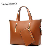 QIAOBAO New Wallet Gift Genuine Leather Women S Handbag Cowhide Shoulder Luxury Women Bags Designer Messenger