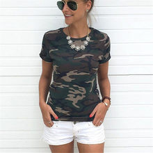 Women Camouflage T Shirt 2018 Summer Short Sleeve T-Shirt Girls Casual Tops Tees Slim O-neck Female Cotton Tops Plus Size S-XXXL(China)