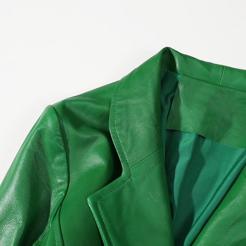 2018 De Veste En Manteau Vintage Trench Bureau Streetwear Vert Peau coat Véritable Cuir Femmes Dame Longue Mode Mouton frnwCqfR5
