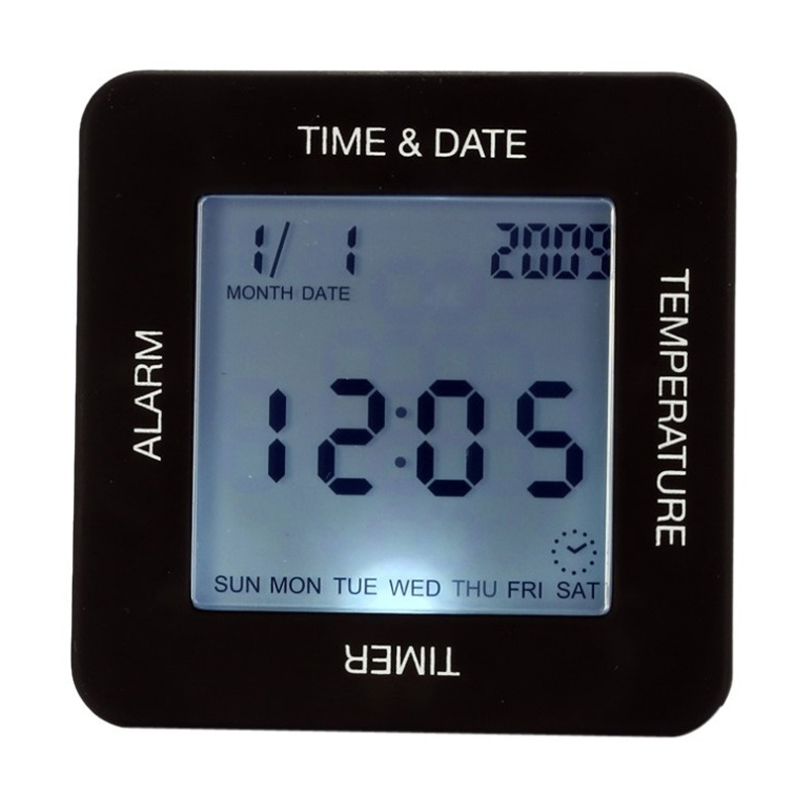 Multifunctional Alarm Clock Large-Screen Rotating sensor Desk Table Clock With Backlight Calendar countdown temperature