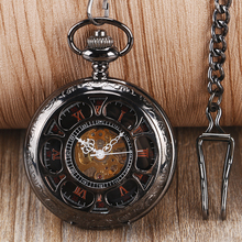 Vintage Flower Hollow Roman Numerals Skeleton Hand Winding Mechanical Pocket Watch White Chain Black Pendant  Fob Watches