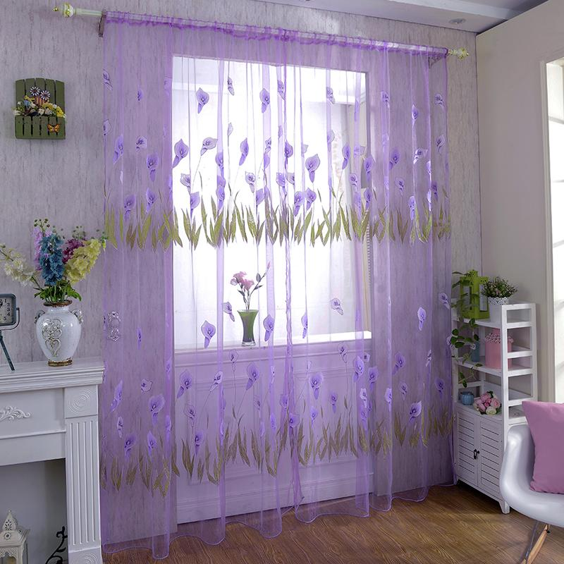 Home Curtains 100x270cm Door Drape Panel Room Curtain Divider Scarf Sheer Voile Window Curtain Decor 3 Colors Home Hanging Decor