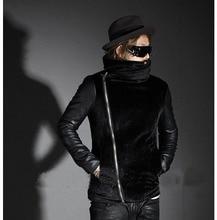 Превосходный мужчины в мягкий мех кожа рукав пэчворк косой молния тёплый осень / зима марка пальто верхняя одежда