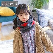 VISROVER, 13 цветов, Осень-зима, унисекс, детский акриловый вязаный снуд со звездой, детский шарф, теплые шарфы для шеи, вязаные акриловые шарфы