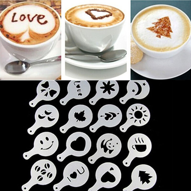 16pcs Lots Coffee Latte Mold Fancy Cappuccino Cake Cookie Stencil Template Decor Barista Duster Art