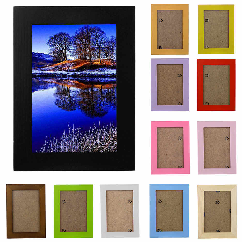 2019New Arrival Wooden Picture Frame Wall Mounted Hanging Photo Frame Home Decor DIY Craft Decoration Wall Decals Frame C506