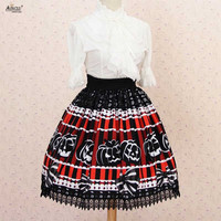 Lace Dress Skirts Lolita Sweet Princess Black Halloween Pumpkin Little Devil Printed Pleated Lolita Lace Skirts Party Cosplay