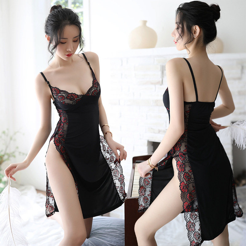 Summer Long Lace High Waist Empire Lace Nightgown Women Spaghetti Strap Lace Sleepwear High Cut Side Split Elastic Nightwear