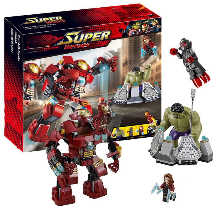 все цены на Marvel Super Heroes Compatible With lego 76031 Avengers Building Blocks Ultron Figures Iron Man Hulk Buster Bricks Toys DBP393