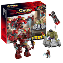 Marvel Super Heroes Compatible With sermoido 76031 Avengers Building Blocks Ultron Figures Iron Man Hulk Buster Bricks Toys цена