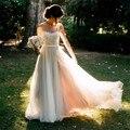 2017 Praia Vestidos de Casamento Backless Vestidos De Noiva Boho Chiffon Lace Apliques Vestidos de Noiva Com Bow País Vestido de Noiva