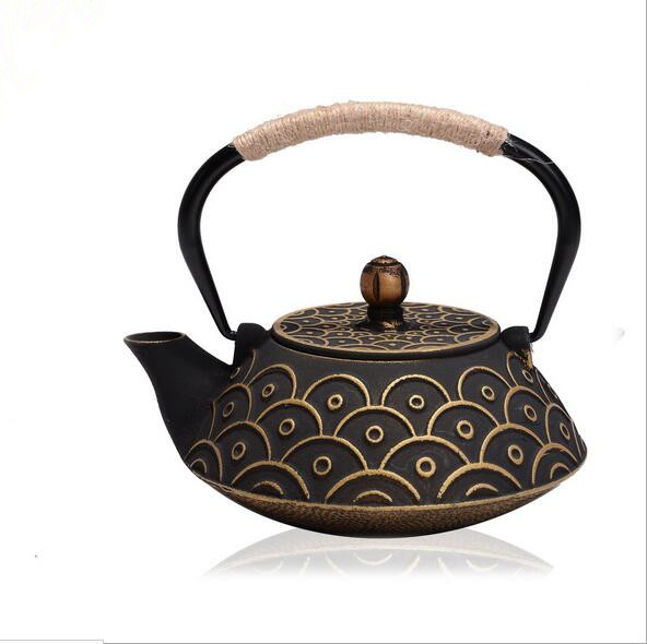 Drinkware Japanese Cast Iron Teapot Uncoated Kung Fu Fish Patterns Tea Pot  With Filter Creative Kettle Tetera De Hierro Fundido