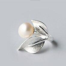 «Feuille Motif» Designer Naturel D'eau Douce Perle Anneau | Exclusive Moderne À La Mode Chic Femelle Sterling-argent-bijoux perle Bijoux