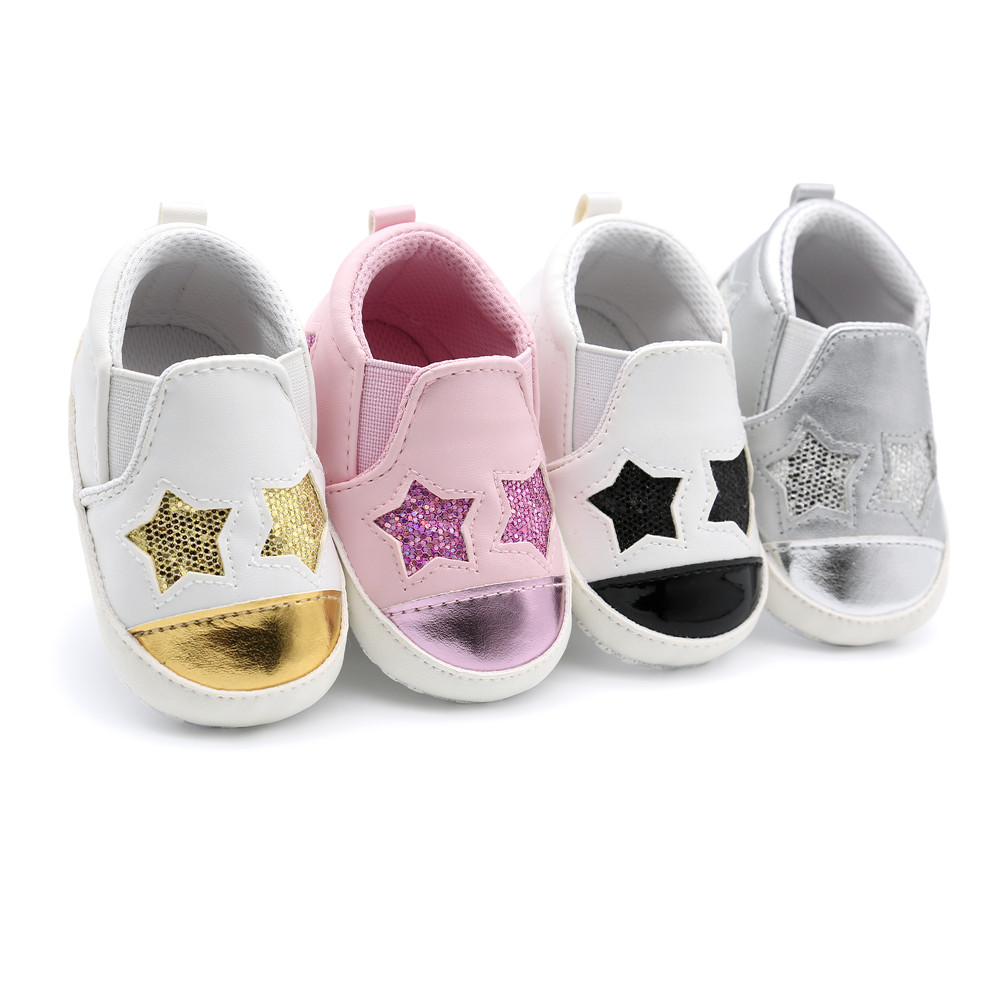 Cute Star Eyes Baby Shoes Shallow Cartoon Bling PU Girl Boy Toddlers Cotton Soft Sole Casual First Walkers Wholesale