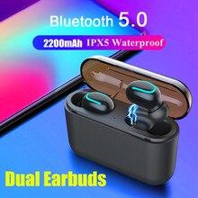 Мини-наушники Bluetooth 5,0 наушники TWS Беспроводная стерео гарнитура спортивные наушники-вкладыши One/Dual Earbuds 1200/1500 мАч power Bank
