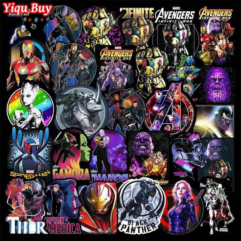 50/100 Pcs Marvele Avengers Stickers For Laptop Car Fridge Suitcase Guitar Motorcycle Bicycle Decal Superhero Anime Sticker Pack