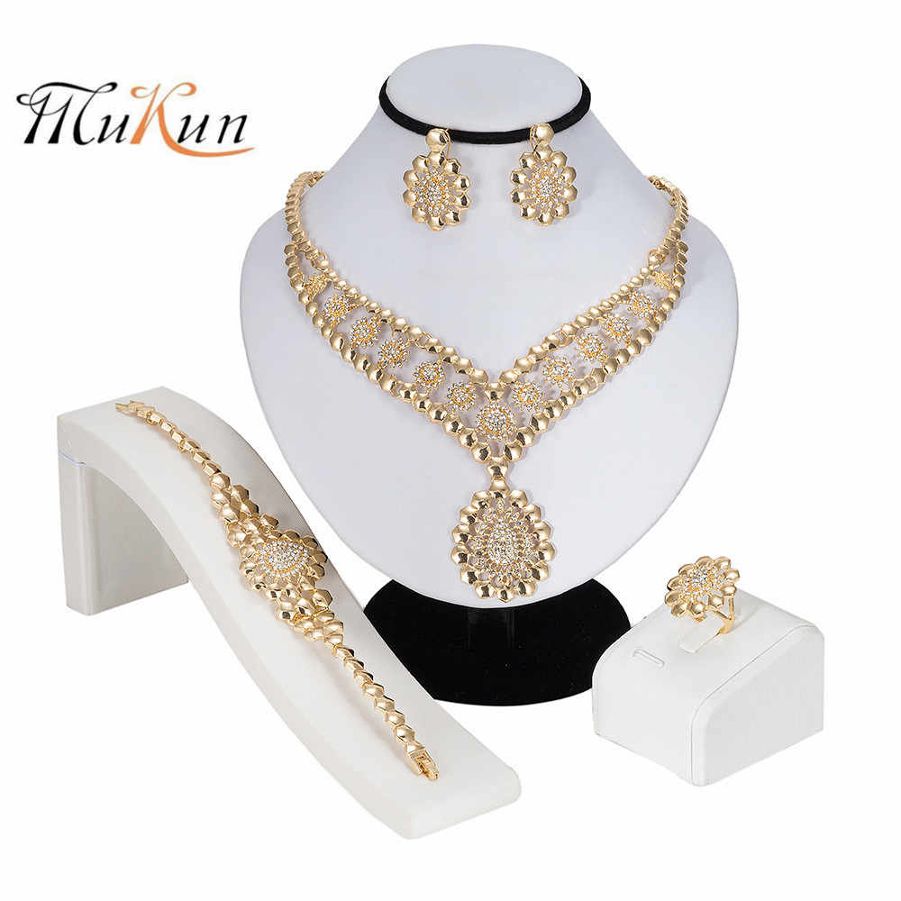 MUKUN 2019 Exquisite Dubai Gold Jewelry Set Brand Nigerian Wedding woman accessories Jewelry Set Wholesale statement jewelry set