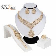 MUKUN 2019 Exquisite Dubai Gold Jewelry Set Brand Nigerian Wedding woman accessories Wholesale statement jewelry set