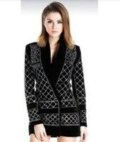 2016 Runway роскошные новые модные женские черный блейзер с ручной работы жемчуг бисером Роскошные Украшенные Тонкий Пальто с одной кнопки