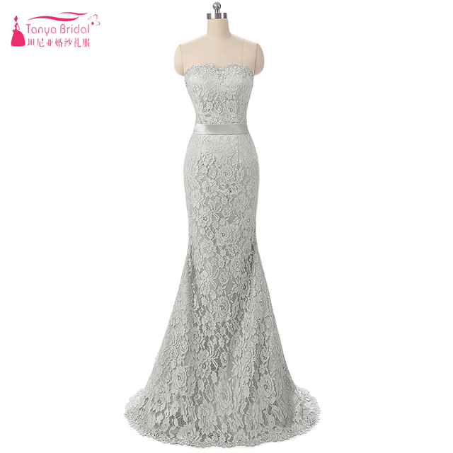 Grey Silver Mermaid Lace Wedding Dresses Simple Strapless Floor