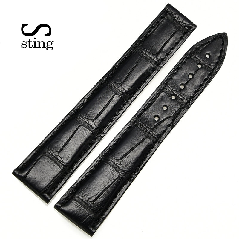 Sting Strap Black And Brown Bamboo Pattern 22*20mm Watch Crocodile Leather Men Watchband Same Length стоимость