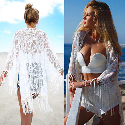 2016 White Sexy Women Lace Crochet Tassel Bikini Swimwear Cover Up Woman Beach Dress Bathing Suit Beach Swimwear cover up 1