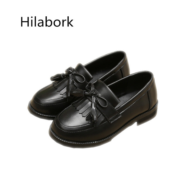 2017 spring new children tassel casual leather shoes girls wear leather anti-slip single shoes bow boys leather shoes