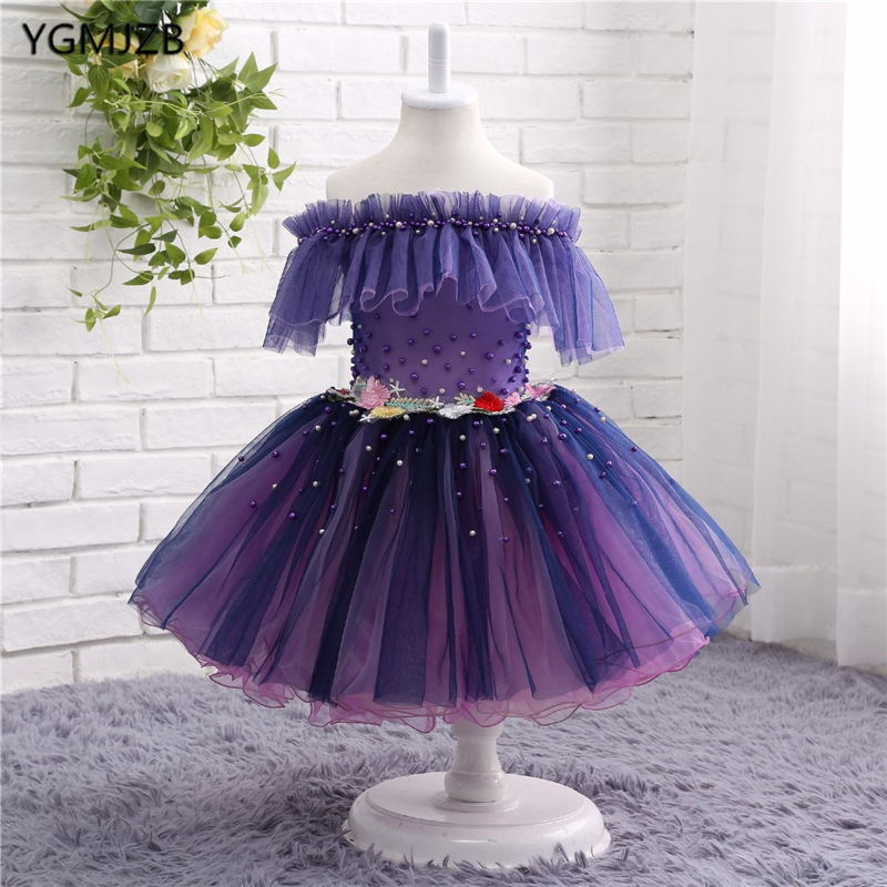 Beautiful Flower Girl Dresses Off Shoulder Tulle Sexy Children Images Pageant Ball Gown Wedding Party Gown Prom Dress Kids