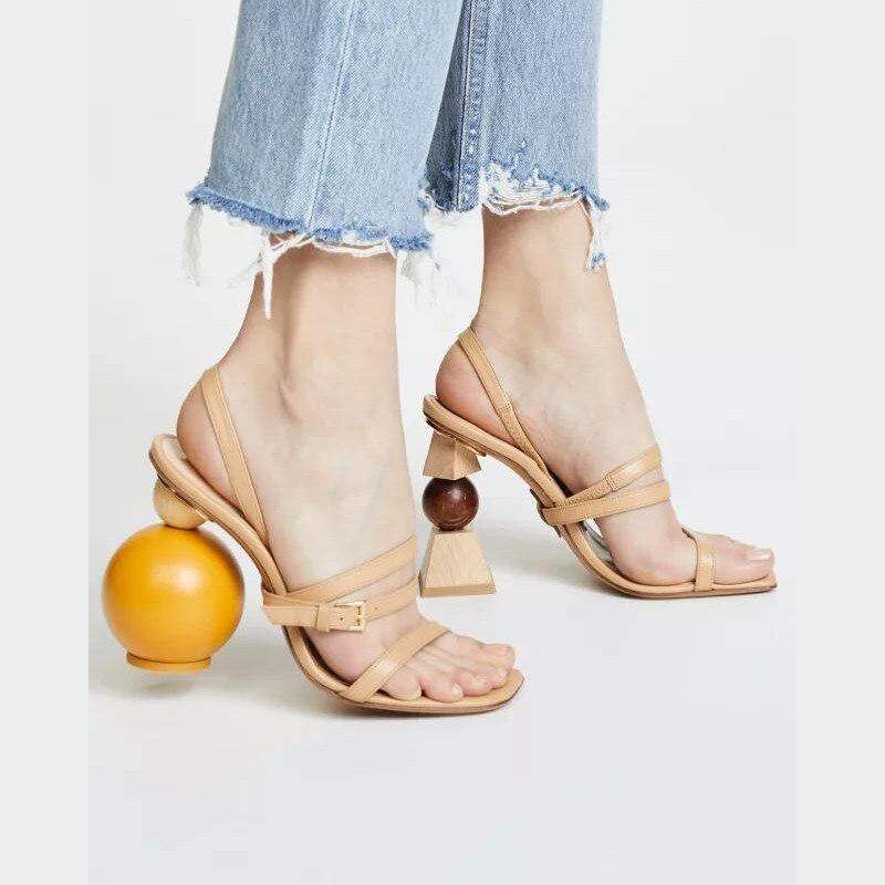 Асимметричная геометрические блоки Сандалии на каблуке Для женщин пикантные узкая полоса на высоком каблуке с открытым носком гладиаторы ... - 4