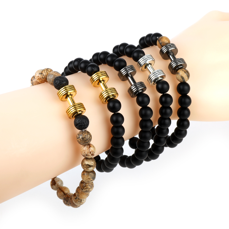 Us 1 75 27 Off Natural Stone Obsidian Bracelets Dumbbell Charm Handmade Quartz Beads Bracelet Workout Fitness Crossfit Barbell Gym Yoga Jewelry In