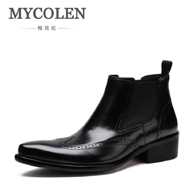 MYCOLEN Men Ankle Boots Spring/Autumn Comfortable Footwear Genuine Leather Mens shoes Lace Up Casual Business Boot Flat Shoes xiaguocai spring autumn high top men shoes fashion canvas men s casual shoes lace up flat ankle boots for male
