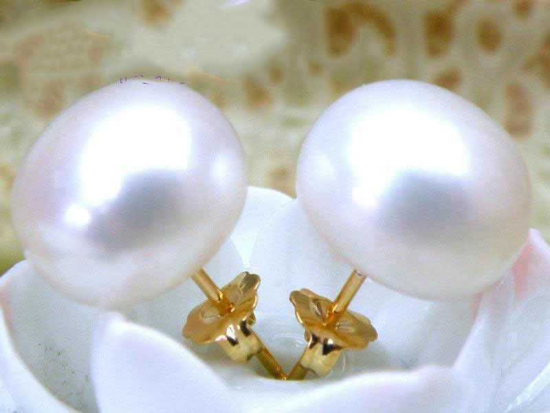 TOP AAA+++ bread 9.5mm 10mm 10.5mm white akoya pearl stud earring 14k solid gold