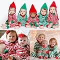 Navidad Muchachas de Los Bebés Del Algodón de La Raya Clásica ropa de Dormir Mameluco Pijamas Ropa