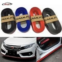 RASTP 2.5m Car Front Lip Bumper Carbon Fiber Style Modified Strip Sticker Protection RS LKT006