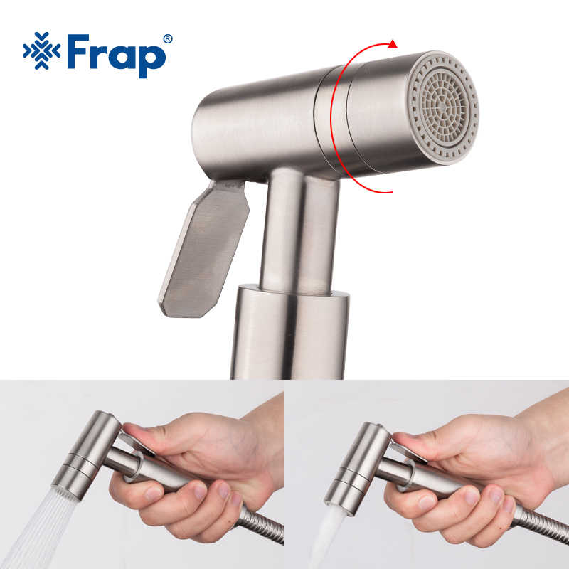 Frap Stainless Steel Handheld Bidet Spray Shower Toilet Shattaf Sprayer Douche Bidet Faucet Brushed Y50004/5/6/ 7