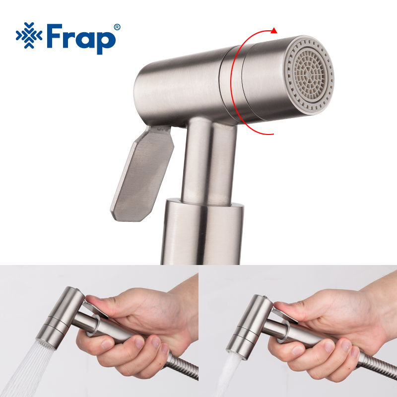 Frap Stainless Steel Handheld Bidet Spray Shower Toilet Shattaf Sprayer Douche Bidet Faucet Brushed Y50004/5/6/7