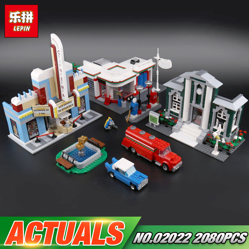 Lepin 02022 Kid Toys 2080Pcs City Toys The 10184 Town Plan Set Building Blocks Bricks New Toys Model For Kids Christmas Gifts anniversary set town plan lepin cinema service station lamppost vehicle 02022 city diy building blocks bricks toys 10184 2080pcs