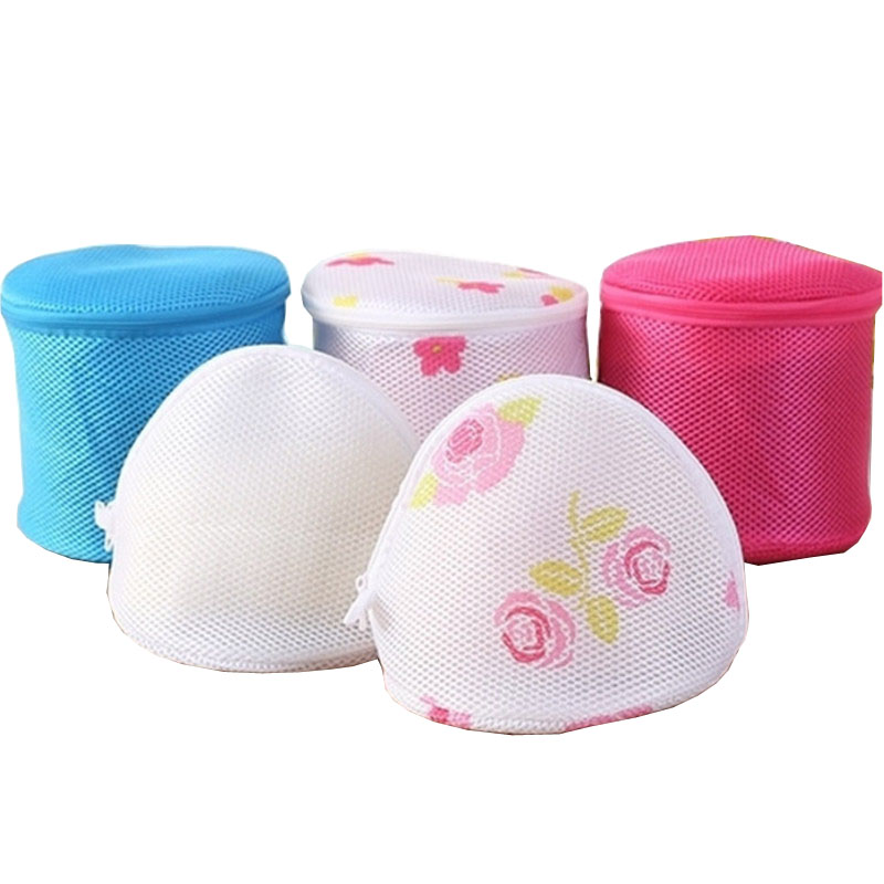 1pcs Polyester Laundry Bag Underwear Bra Socks Wash Bag Washing Machine Round Mesh Bag Zipper Net Underwear Protective Cover