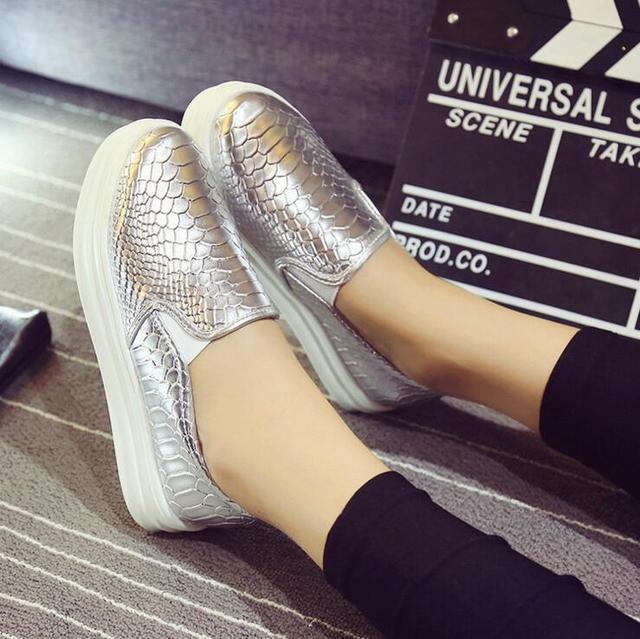505fe6d1c4 US $20.68 |2016 Hot Sale Fashion Women Platform shoes Silver Glisten  Heighten Sport Thick Heel Casual Walking Flat shoes Free Shipping-in Men's  Casual ...