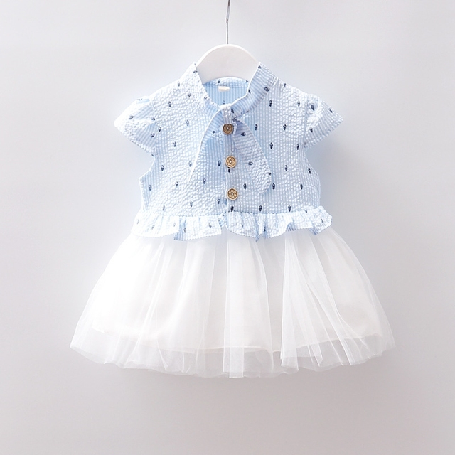 e79c2311feba652 Infant Toddler Kids Newborn Baby Girl Children Dress Frock Summer  Sleeveless Cute White Pink Blue 9