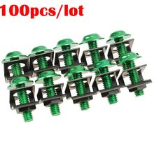 100Pcs/Lot New Hot Top Green Motorcycle M6 25mm Rack Mount Cage Nuts & Screws w/Washers Square Clips Server