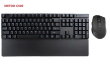 Metoo C300 Black white Wireless Gaming Keyboard Mouse combo set office gaming For computer Laptop games
